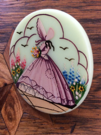 1940's  Crinoline Lady  Brooch   Hand painted Lucite Brooch